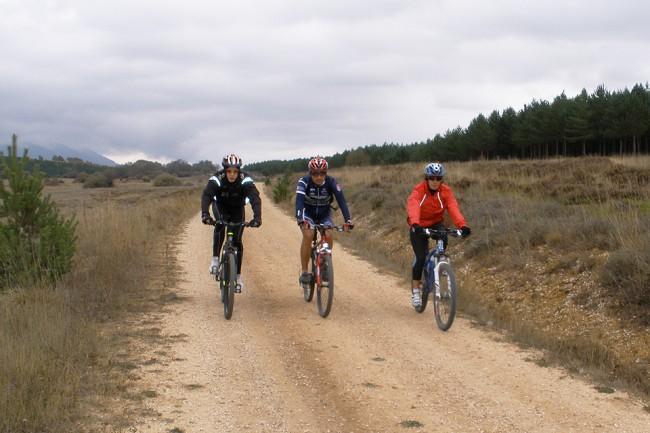 Los participantes en una pasada marcha cicloturista ruedan por el Cordel Cerverano.