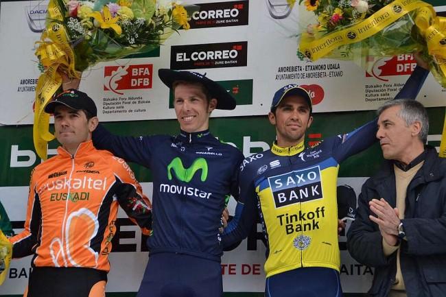 Podio del Gran Premio de Amorebieta, que ganó Rui Costa. / MIGUEL TOÑA (EFE)