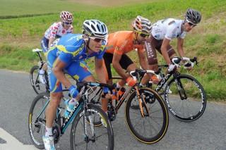 Escapada en el Tour de Francia 2012 en la que  Rubén Pérez está acompañado por Sebastien Minard, Michael Morkov y Andriy Grivko. Foto: ASO