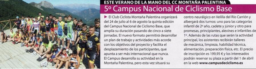 """Anuncio del Campus en las páginas de la revista """"Ciclismo a Fondo"""", número 377 editada en abril de 2016."""